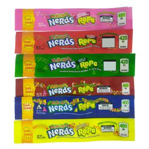 nerds rope packaging bags medicated nerds rope empty packaging 400mg THC edibles packaged Cannabis Edibles Packaging